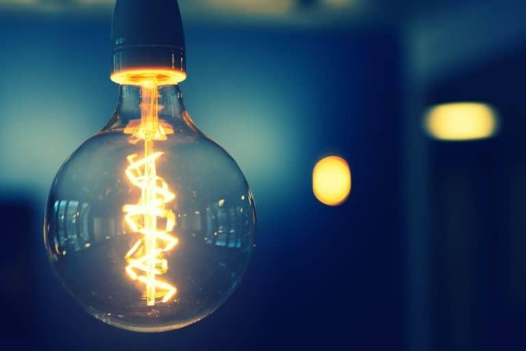 Lightbulb in blue room